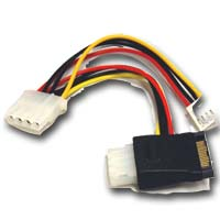 Bytecc SATA Power 15-pin to Molex 4-pin & Floppy Power Adapter Cable 5""