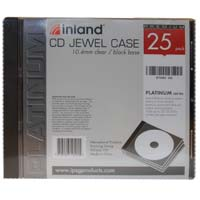 Inland 10.4mm CD Jewel Case Black 25 Pack