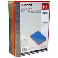 Inland 7mm Slim DVD Case Color 10 Pack