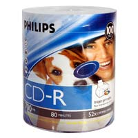 Philips Inkjet Printable CD-R 52x 700MB/80 Minute Discs 100 Pack