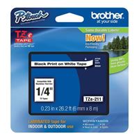 """Brother 1/4"""" Black on White Tape"""