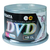 Ridata Hub Printable DVD+R DL 8X 8.5GB Disc 50 Pack Spindle