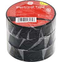"PVC Electrical Tape 12 Piece Shelf Pack  3/4"" x 50' 3 Pack Black"