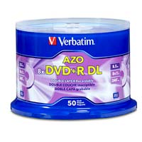 Verbatim DVD+R DL 8x 8.5GB/240 Minute Disc 50-Pack Spindle