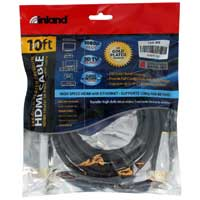 Inland HDMI Male to HDMI Male Cable w/ Ethernet 10 ft.