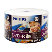 Philips Printable DVD-R 16x 4.7GB/120 Minute Disc 50 Pack