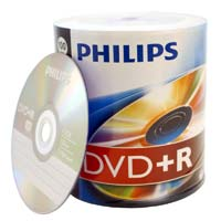 Philips DVD+R 16x 4.7GB/120 Minute Discs 100 Pack