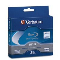 Verbatim BD-R 6x 25GB Disc 3 Pack with Jewel Case