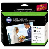 HP HP 57 & 58 Tri-color & Photo Ink Cartridge, 100 Sheet Premium Photo Paper Value Pack