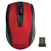 Gear Head 2.4 GHz Wireless Optical Nano Mouse Red