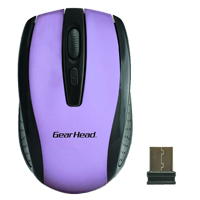 Gear Head 2.4 GHz Wireless Optical Nano Mouse Purple