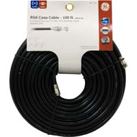 GE Coax Male to Coax Male RG-6 Quad Shielded Cable 100 ft. - Black