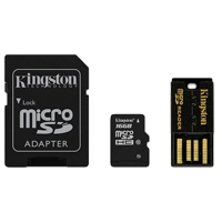 Kingston 16GB Class 10 Micro Secure Digital High Capacity (Micro SDHC) Flash Media Card with Mobility Kit MBLY10G2/16GB