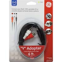 GE 3.5mm to 2 RCA Cable 6 ft. Black