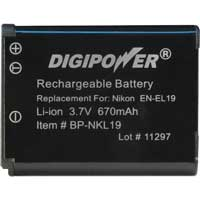Digipower BP-NKL19 Replacement Li-ion Battery for Nikon EN-EL19
