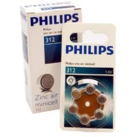 Philips #312 Hearing Aid Battery 6 Pack