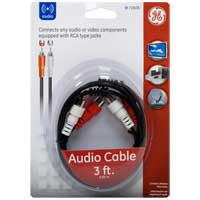 GE 3 ft. Dual RCA Cable Black