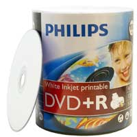 Philips Printable DVD+R 16x 4.7GB Discs 100 Pack