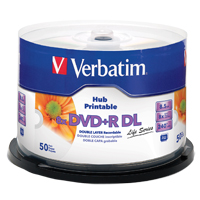 Verbatim Hub Printable DVD+R DL 8x 8.5GB/240 Minute Disc 50 Pack Spindle