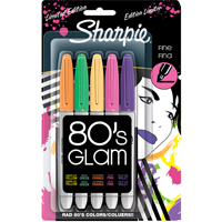 Sharpie Fine Point 80's Glam Markers Assorted Colors 5 Pack