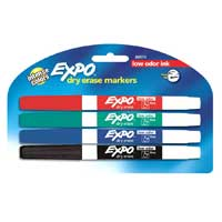 Expo Low Odor Dry Erase Markers 4 Pack Assorted Colors