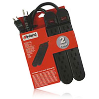 Inland SurgeGuard Surge Protector Combo 2 Pack - Black