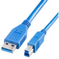 USB A Male to USB B Male Cable Blue 12 ft.