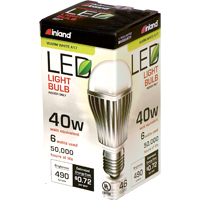 Inland A17 6W 490L LED Bulb Non-Dimmable 40W Equivalent