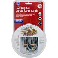 GE 12 ft. Ultra Pro RCA Male to RCA Male Gold Cable - Silver