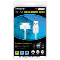 Xtreme Cables Sync and Charge Cable for iPod/iPhone/iPad 5 ft. - White