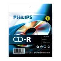 Philips CD-R 50x 700MB/80 Minute Discs 3 Pack