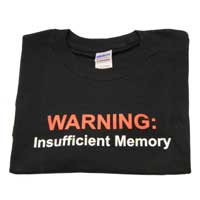 "Ulla Ltd. Designs T-shirt ""Insufficient Memory"" XX-Large - Black"