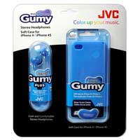 JVC Gumy iPhone 4/4S Case and Gumy Plus In-Ear Headphones Blue