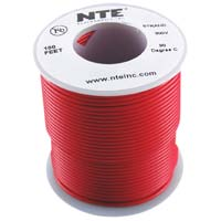 NTE Electronics 24 Gauge Stranded Hook-Up Wire 100-Foot Red