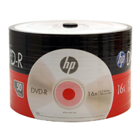 HP DVD-R 16x 4.7GB Discs 50 Pack Wrap with Base and Stem Spindle