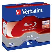 Verbatim BD-RE 25GB 2x 5 Pack with Jewel Case
