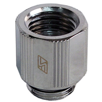 "Swiftech G 1/4"" Lok-Seal Male to Female Fitting Adapter - Chrome"