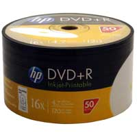 HP Printable DVD+R 16x 4.7GB - 50 Pack