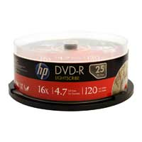 HP LightScribe DVD-R 16X 4.7GB 25-Pack Spindle