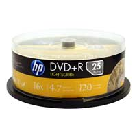 HP LightScribe DVD+R 16X 4.7GB 25-Pack Spindle