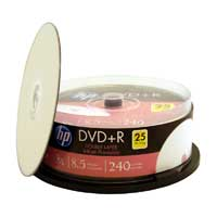 HP Printable Dual Layer DVD+R 8X 8.5GB 25-Pack Spindle