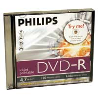 Philips Philips DVD-R 16x 4.7GB White Inkjet Printable 3 Pack Slim Jewel Case