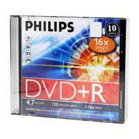 Philips 16x 4.7GB/120 Minutes DVD+R Slim Jewel Case 10-Pack