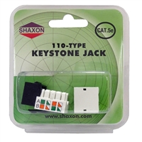 Shaxon CAT5e RJ45/110 Keystone Jack - Black Single Pack