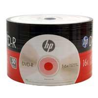 HP DVD-R 16x 4.7GB Discs 50 Pack Wrap Only (No Spindle)