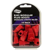 Shaxon RJ-45 Red Snagless Molded Look Strain Relief Boot 10 Pack