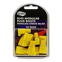 Shaxon RJ-45 Yellow Snagless Molded Look Strain Relief Boot 10 Pack