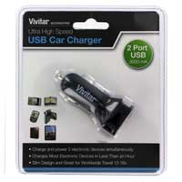 Vivitar Dual USB Ultra High Speed 3A Car Charger