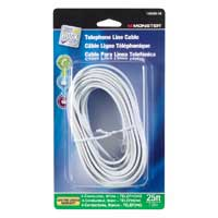 Just Hook It Up RJ-11 Male to RJ-11 Male Modular Telephone Line Cable 25ft. - White