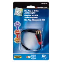 "Just Hook It Up 6"" RCA Plug to 2 RCA Jacks ""Y"" Adapter"